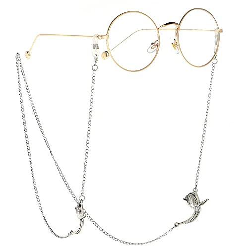 YANJ Gafas Cadena Gafas de Sol Cadena Gafas Cordón Gafas Correa Plata Antideslizante Cadena de Gafas Gafas de Metal Rosa Cuerda Gafas Accesorios