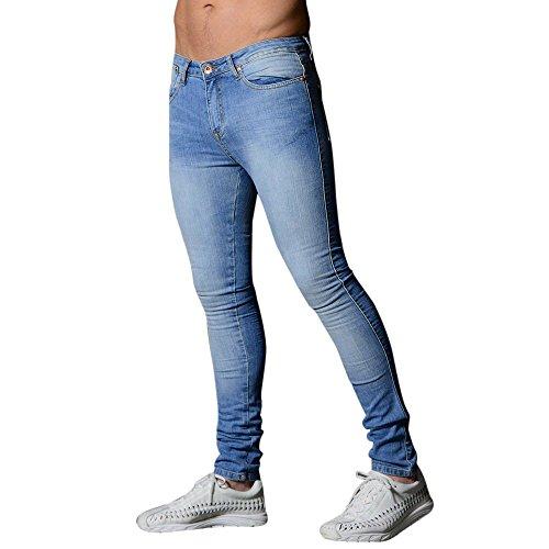 Hommes Denim Jeans Coupe Slim Chino De Base Occasionnels Pantalon,Pantalon Slim en Denim Extensible pour Hommes Pantalon Long Et DéContracté Jeans Skinny(Bleu Clair,S)