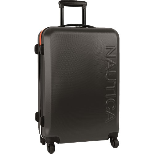 Nautica 24' Hardside Expandable Spinner Luggage, Grey/Orange