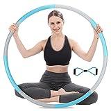 Aro de hula hoop para adultos, 8 segmentos, acero inoxidable, 1,2 – 1,5 kg, con mini banda de tensión