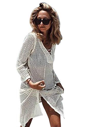 heekpek Bikini Cover Up Strandkleid V-Ausschnitt Häkelkleid Damen Strand Sommerkleid Strandkleid Paeros Strandponcho (Weiß)