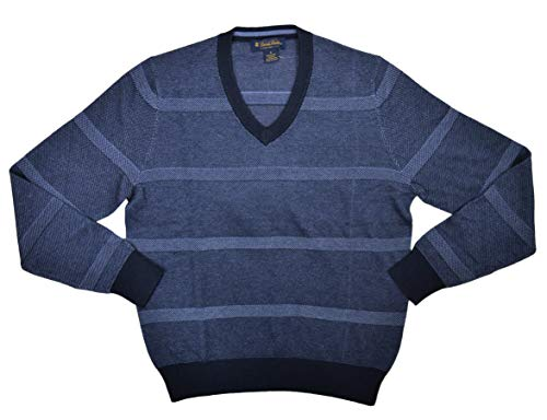 Brooks Brothers Men's Long Sleeves V-Neck Striped Sweater, Blue Multi (S)