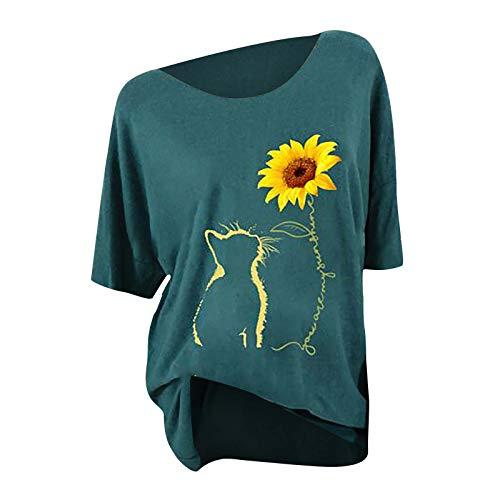 T-Shirt Damen Katze Sonnenblume Kurze Ärmel Rundhals Top Lässige Lose Kurzarm Tunika Bluse Shirt Oberteil Kleidung
