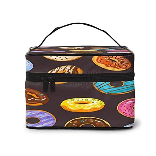 DJNGN Donut Make-up Bag Travel Große Kosmetiktasche Etui Organizer-Tasche mit Netztasche Tragbare Make-up-Kulturbeutel