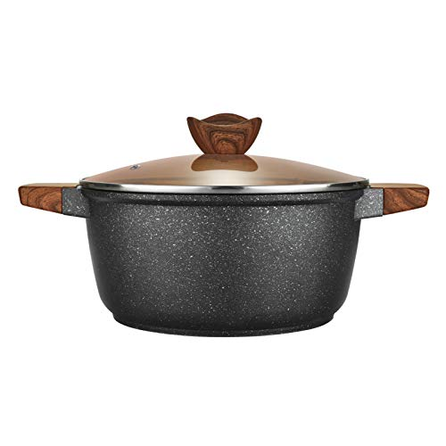 KYTD Nonstick Soup Pot with Lid Casserole Pot Granite Stone Coating Induction Compatible, 5-Quart