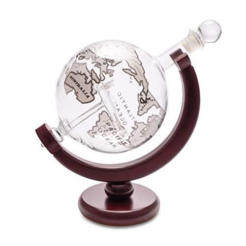 Balvi Decantador Whisky Globe con Soporte de Madera Botella en Forma de Globo terrestre con Figura de avión en el Interior 800ml Vidrio/Madera
