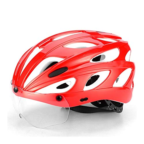 AMYHY Casco de Ciclo Ajustable con Visera Desmontable, Casco de MTB liviano para Adultos con Gafas, Casco de Bicicleta para Hombres Adultos, Casco de Ciclismo de protección, Rojo, 57-62cm