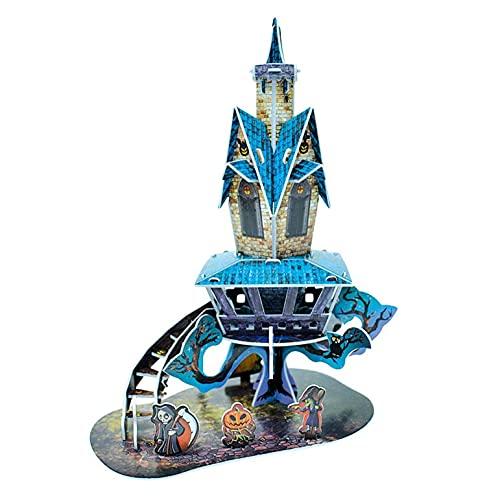 Mllkcao Halloween Décoration Puzzle Halloween 3D Puzzle Cadeau, Adultes 3D Halloween Puzzle Lumineux Citrouille Lanterne