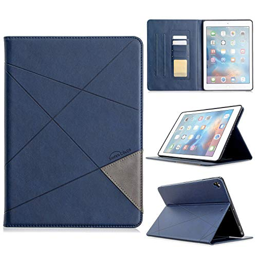 Protective Tablet PC Shell Vertical Prismatic Tablet Case Suitable for IPAD 56789 Universal Case. Advanced PU Leather Case With Automatic Wake-up/sleep Function [with Card Slot] (Color : Blue)