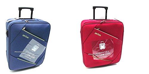 Coppia Trolley Easyjet idonei cm.50x40x20 Trolley Bagaglio a Mano cabina ,Offerta set 2 Trolley Ryanair idoneo cm.55x40x20,2 Trolley Easyjet Clacson misure effettive cm.49x39x19 (BLU) (Blu/Rosso)