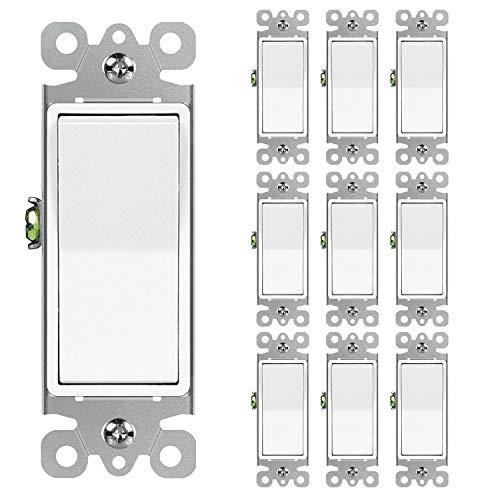 10 Pack BESTTEN SinglePole Decorator Wall Light Switch 15A 120/277V On/Off Rocker Interrupter UL Listed White