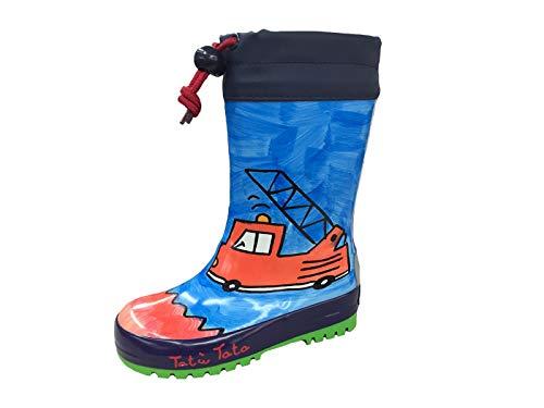 maximo, Kindergummistiefel, Regenstiefel für Jungen, Navy/rot, Motiv Feuerwehr, handbemalt, jeder Steifel EIN Unikat (32 EU)
