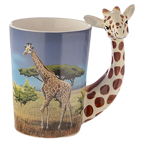 3D Giraffe Handle Mug with Savannah Artwork