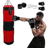 Sacca per Boxe da Sabbia Oxford appesa Vuota per Kickboxing Sacco da Boxe da Karate con Bende con Gancio in Catena di Ferro e Guantoni da boxe