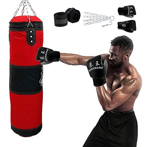 ATopoler Boxsack-Set mit Boxsack Heavy Duty, inklusive Boxhandschuhen, Haken, Boxbandagen und Vierpunkt-Stahlkette für Boxtraining Fitness Sandsack, Jugendliche und Kinder 100 x 30 cm