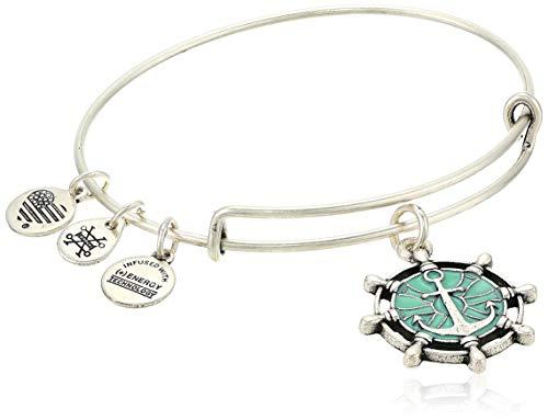 Alex and Ani Women's Color Infusion Anchor Charm Bangle Bracelet, Rafaelian Silver, Expandable