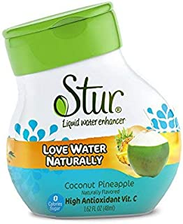 Stur - Coconut Pineapple, Natural Water Enhancer (5 Bottles, Makes 100 Flavored Waters) - Sugar Free, Zero Calories, Kosher, Liquid Drink Mix Sweetened with Stevia, 1.62 Fl Oz (Pack of 5)