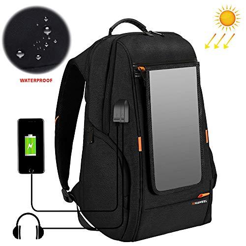 LNLN 7 W zonnepaneel powered rugzak, comfortabele ademende vrijetijdsrugzak, laptoptas met handgreep, externe USB-aansluiting en hoofdtelefoonaansluiting zwart
