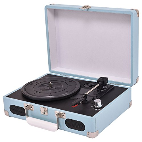 Costzon 3-Speed Bluetooth Suitcase Turntable with Speakers, Vintage Style Record Player