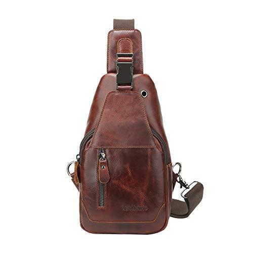 Leathario Brusttasche Herren Leder Crossbag Wasserdicht Sling Rucksack Sling Bag Echtleder Schulterrucksack Schulltlertasche Crossbody Bag Tragtasche für Arbeit Freizeit