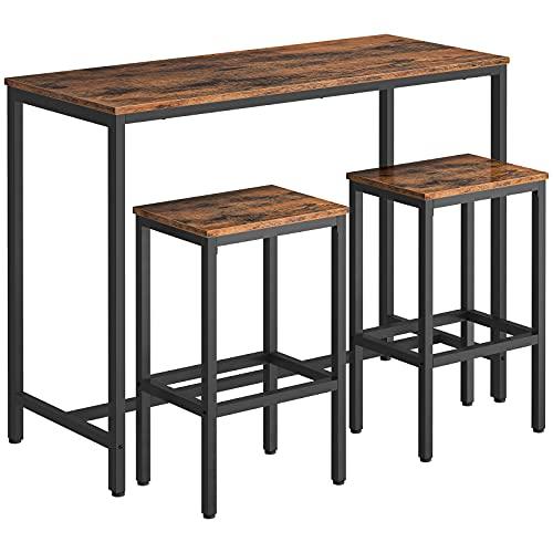 HOOBRO Set di Tavolo e 2 Sgabelli da Bar, Tavolo da Bar, Set di Sedie da Pranzo con Tavolino, 120 x 50 x 90 cm, per Sala da Pranzo, Soggiorno, Marrone Vintage EBF52BT01