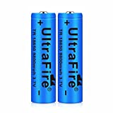 2 pcs 18650 Batería Recargable 3.7 9800 MAH Azul Litio BateríA Recargable De Iones De Litio 3.7v Pilas Recargables 18650 Alto Rendimiento BotóN De La BateríA Superior para Linterna 18650,18X65mm