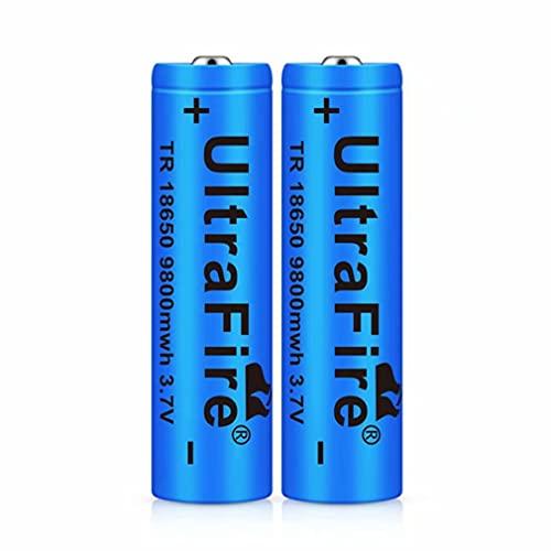 2 pcs 18650 Batería Recargable 3.7 9800 MAH Azul Litio BateríA Recargable De Iones De Litio 3.7v Pilas Recargables 18650...