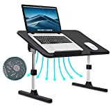 Scrivania per laptop per letto, tavolino da letto pieghevole regolabile per laptop, supporto per laptop portatile con ventola di raffreddamento per lettura del pavimento del divano(Black)