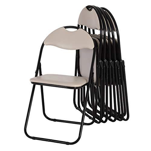 MACOShopde by MACO Möbel Raburg Gästestuhl 6er Set Paul - in BEIGE, stabiles Faltstuhl + Klappstuhl-Set aus Stahl, Soft-Skin Kunstleder, 100 kg belastbar