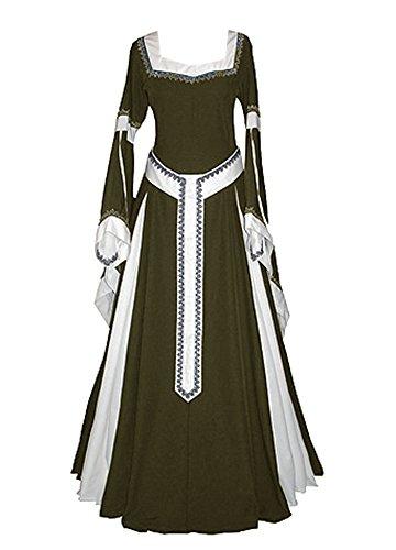 Misassy Damen Mittelalter-Kleid, Renaissance-Kostüme, irisches Over-Lang-Kleid, Cosplay, Retro-Kleid - Grün - X-Large
