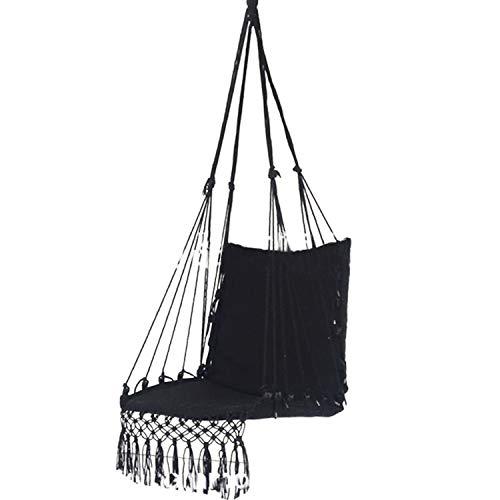 Souarts hangstoel, hangstoel, schommelstoel, macramé-stijl, 110 x 55 x 120 cm, zwart, wit, voor binnen en buiten, tuin zwart
