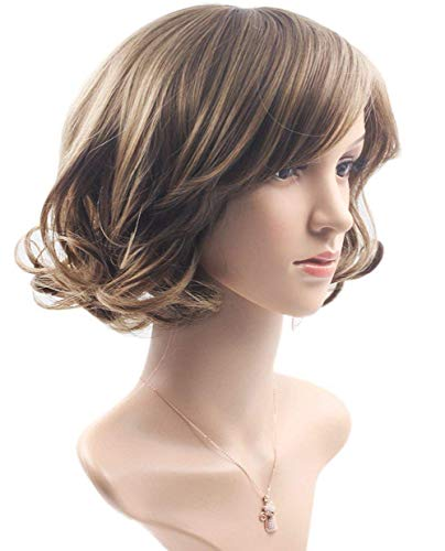 Jsmhh Harajuku Long Straight Heat Resistant Synthetic Fiber Wigs Glueless Wig Hair Wavy Lady, Short Linen Brown.