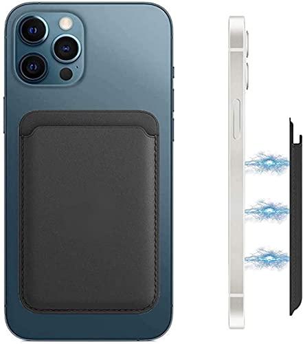 Funda de piel con tarjetero compatible con iPhone 12 12 Mini 12 Pro 12 Pro Max Mag-Safe, soporte magnético para tarjetas de crédito, para iPhone Wallet hombre y mujer, para 2 tarjetas