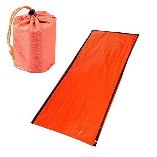 Deportes al Aire Libre Saco de dormir de supervivencia de emergencia, manta de emergencia térmica impermeable ligera de película de aluminio PE con bolsa de cordón portátil for acampar al aire libre,