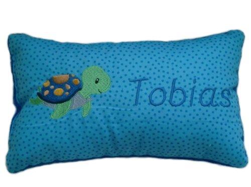 Blaues Schmusekissen * Kuschelkissen * Schildkröte * mit Namen bestickt * in zwei Größen