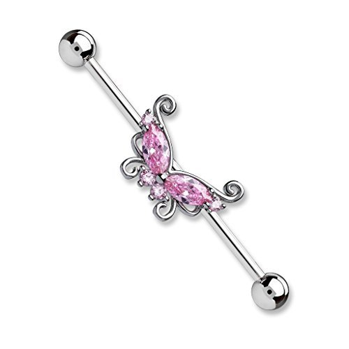 Tapsi´s Coolbodyart®| Industrial Barbell Piercing Stab Edelstahl Chirurgenstahl 316L 38mm Zirkonia, Schmetterling Pink