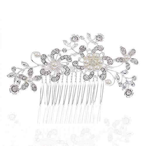 Tocado de novia con pedrería de imitación de flores y perlas para...
