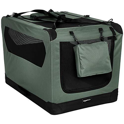 Amazon Basics - Hochwertige Haustier-Transportbox, faltbar, weich - 91 cm, GRAU