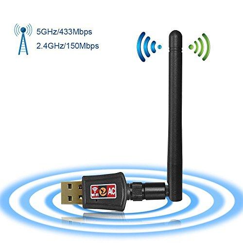 Zoweetek WiFi Adaptador Receptor WiFi USB inalámbrico Dual Band AC600 WiFi...