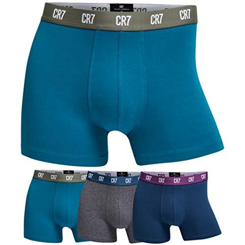 CR7 CRISTIANO RONALDO - Basic - Bóxers Ajustados para Hombre - Pack de 3 - Azul/Gris/Azul Marino - S
