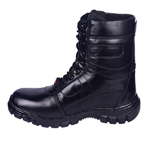 Para commando Mens Genuine Leather Military Army Boot Shoes with Steel Toe 08 Black