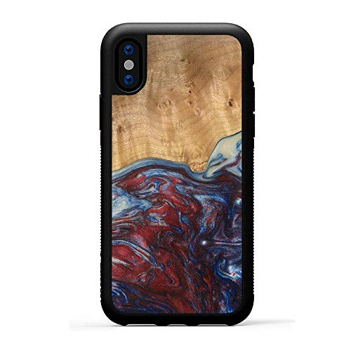 Carved - Wood+Resin Case for iPhone Xs/iPhone X - One-of-A-Kind, Protective Traveler Bumper Cover (ID: 116979, Blue & Red)