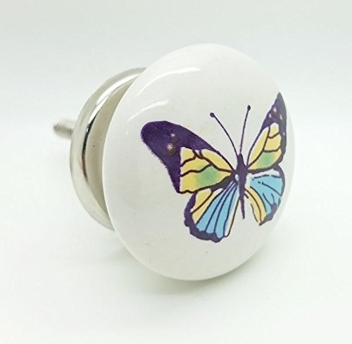G Decor Papillon coloré en céramique style Shabby Chic Bouton de porte de placard tiroir 4533 Poignée de tirage