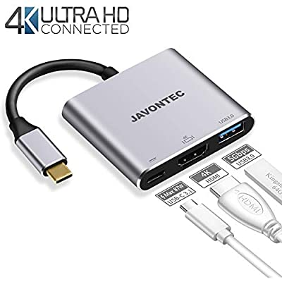 USB-C to HDMI Adapter, USB C Digital AV Multiport Adapter Converter with USB 3.0 Port and USB C Charging Port,USB C Hub Compatible with MacBook/HP Spectre/Chromebook/Samsung Galaxy S8/S9 more