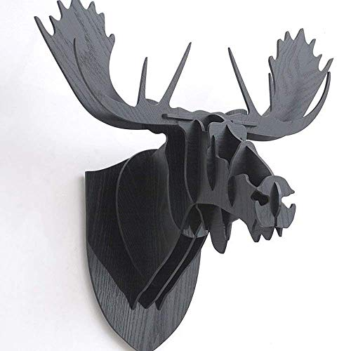 OESFL Wall Hanging Sculpture Moose Deer Head Wall Hanging 3D Wooden Puzzle Construction Kit Animal Head Wall Art Sculpture Moose Head Wall Decoration Wood Nordic Wall Hanging (Color : Black)
