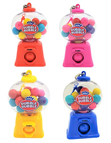 Zugar Land Colorful 4quot Gumball Dispenser Machine Keychains with Original Dubble Bubble Gumballs Included 4 Pack