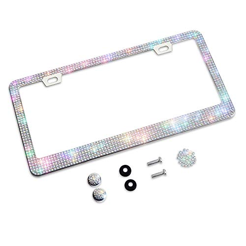 Shering Bling Glitter License Plate Frame, Elegant Giftbox with Handcrafted Crystal Premium Stainless Steel Bling License Plate Frame for Women ,Party,Birthday Gift (White Colorful, 1PACK)