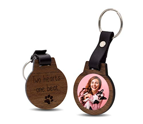 CHRISCK design Schlüsselanhänger mit Foto und Gravur | Echtes Holz und kratzfestes Bild / schöne Geschenkidee für den Partner | ideal mit Hund Katze