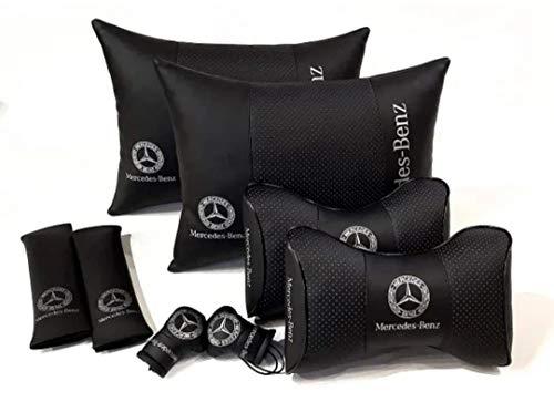 1 Set 8 pz PU Pelle Traspirante Copertura Completa Sedile Pad Poggiatesta Cuscino Supporto Logo Mercedes-Benz Comodo Collo Schienale Pendente Souvenir Boxe Guanti