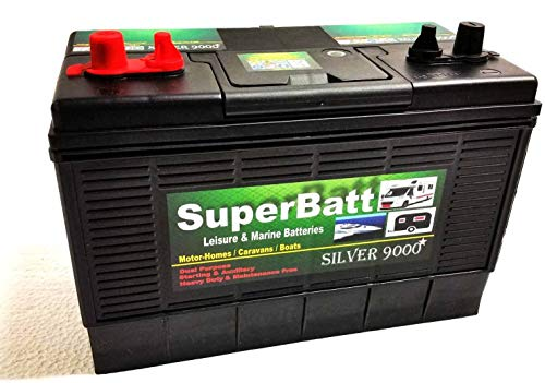 12V 120AH SuperBatt DT120 Heavy Duty Ultra Deep Cycle Dual Purpose Leisure Marine Battery with Dual Terminals (Twin Posts) & Charge Indicator Replace 105AH ; 110AH ; 115AH ; 120AH